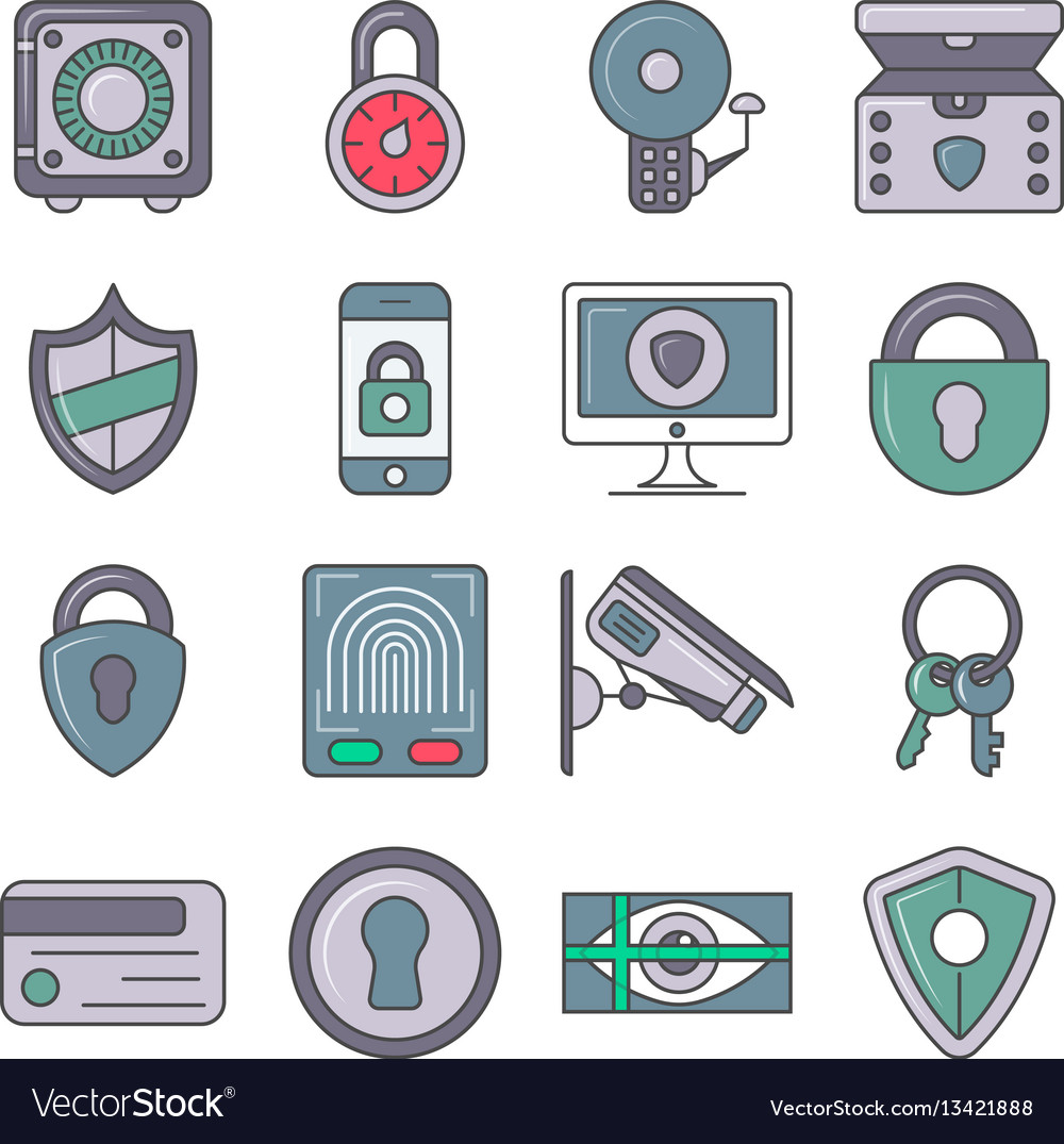 Protection and security pictogram set