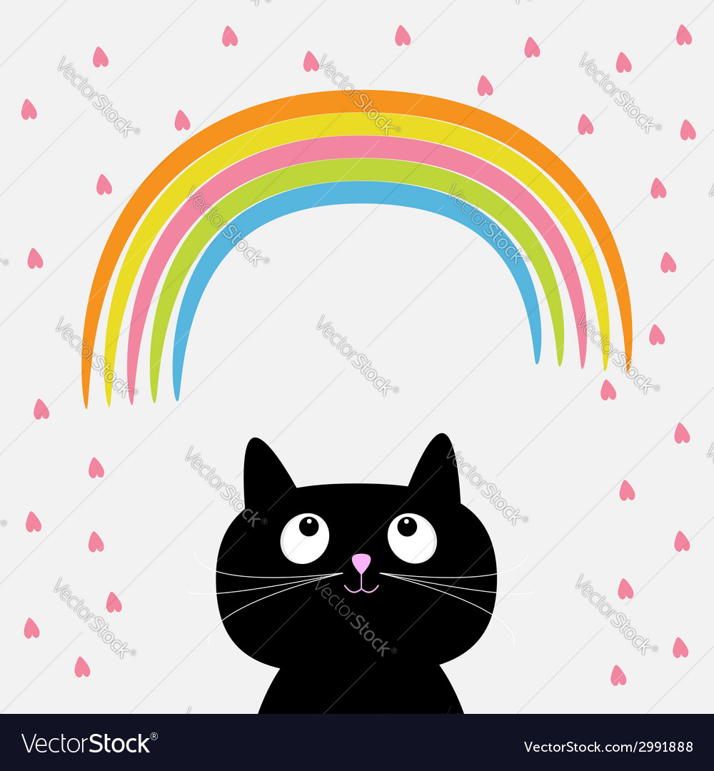 Rainbow and pink heart rain with cute cartoon cat vector image