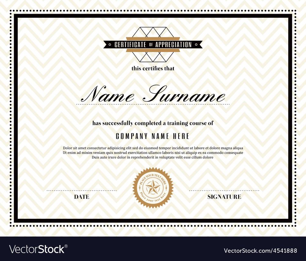 Retro frame certificate design template