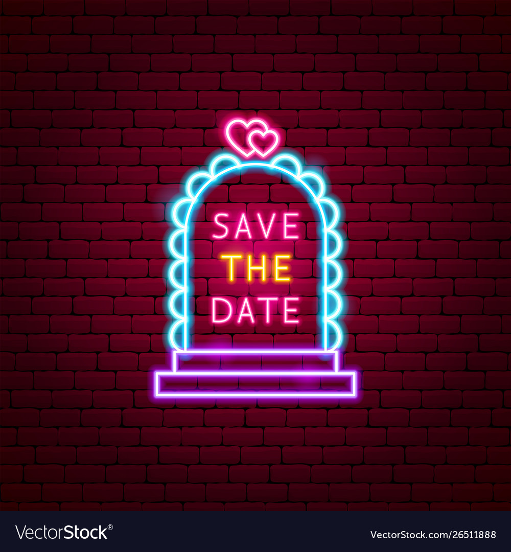 Save date neon label