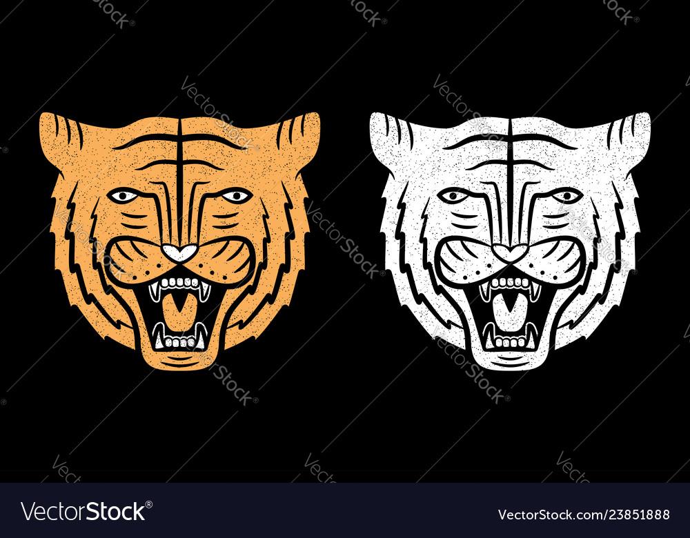Set of tiger faces vintage design of roaring