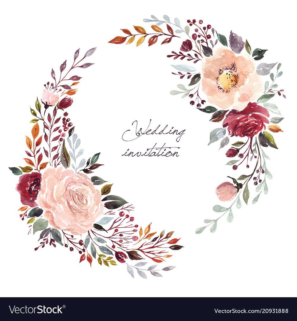 Flower Wreaths For Weddings: Wedding Floral Wreath Royalty Free Vector Image