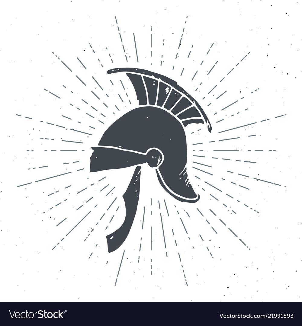 Ancient roman helmet vintage label hand drawn