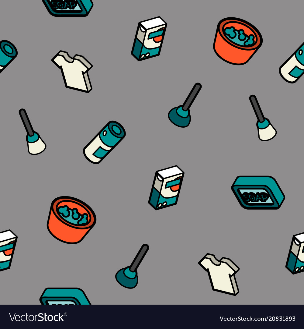 Cleaning color outline isometric pattern