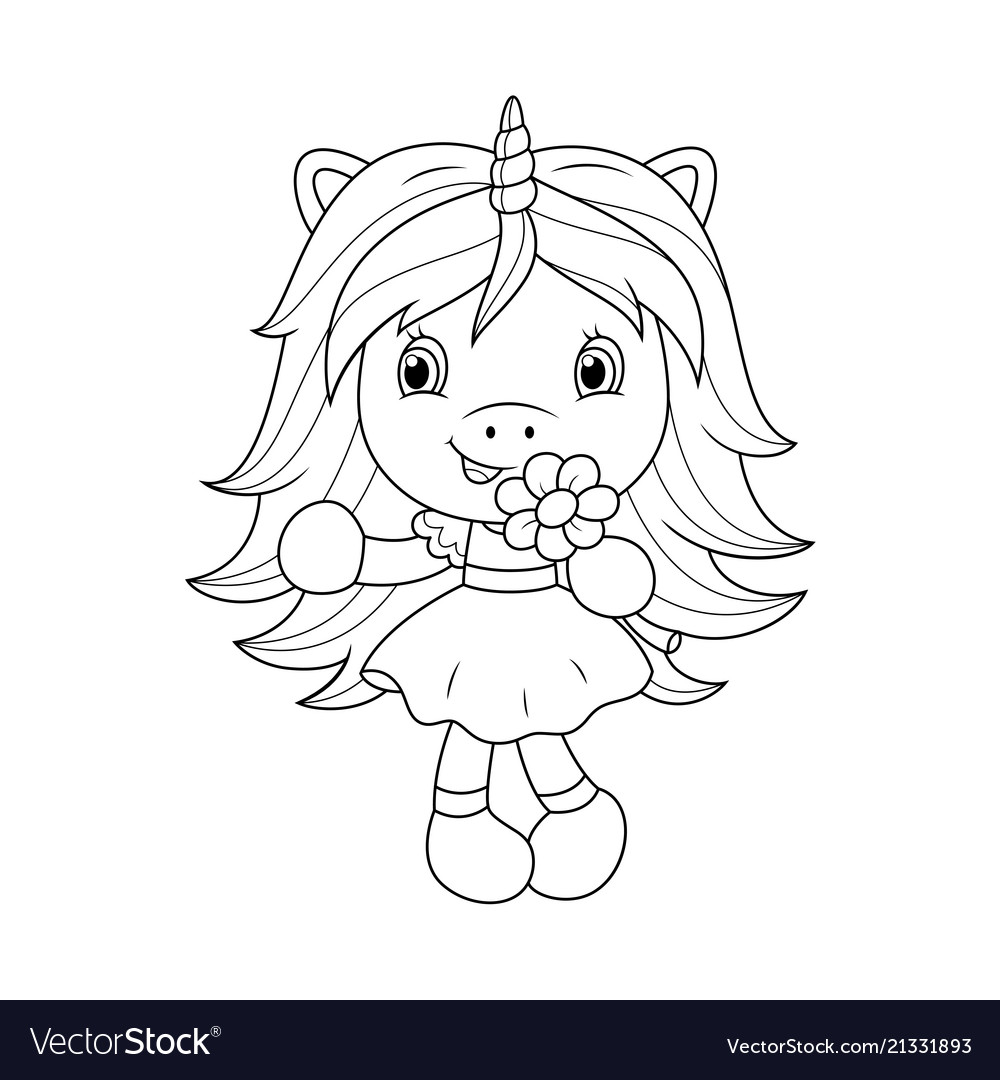 Cute baby unicorn holding flower coloring page Vector Image