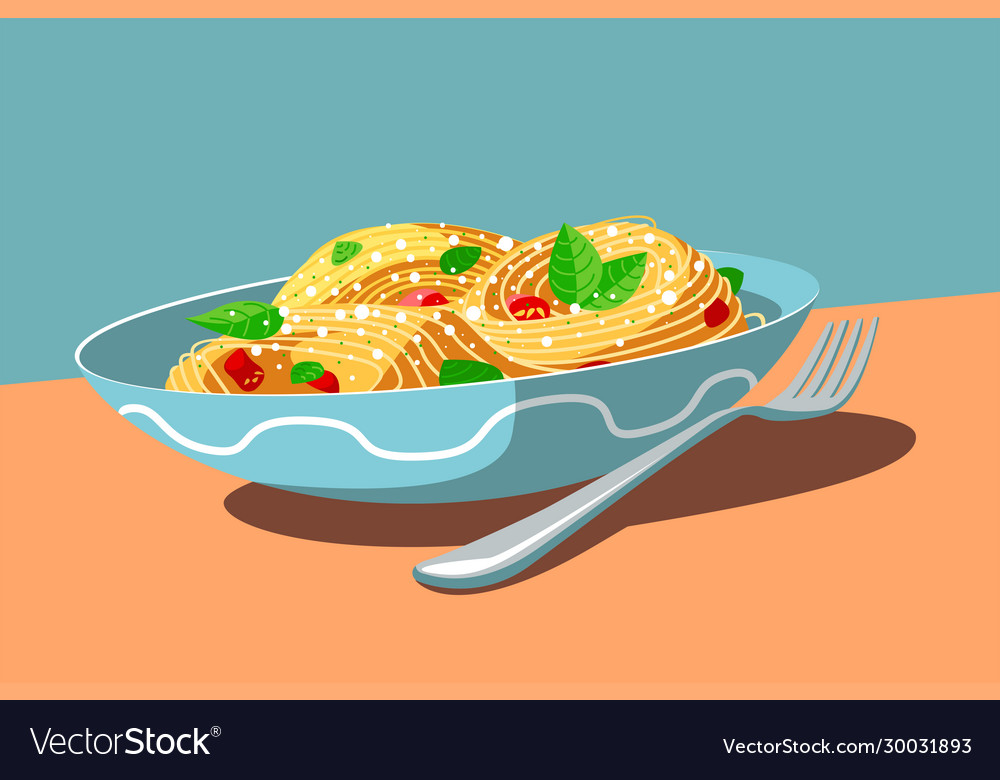 Dish with tasty meal and fork