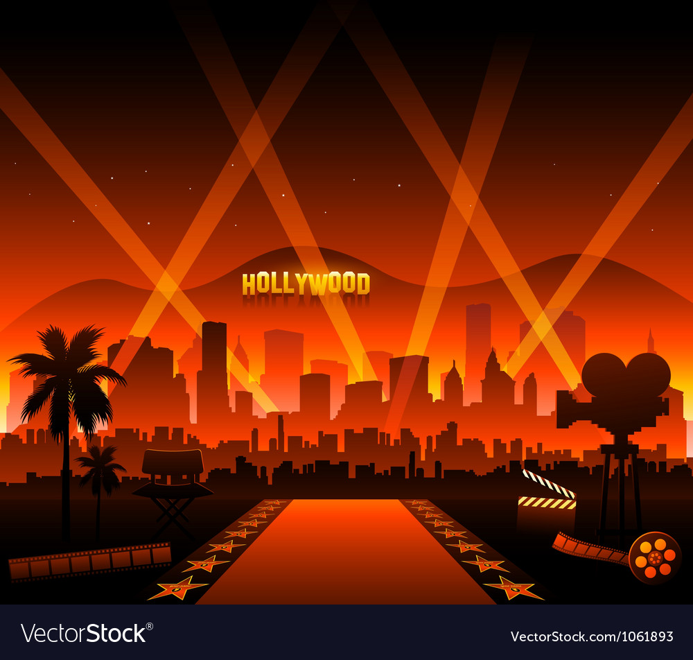 Hollywood movie red carpet vector image