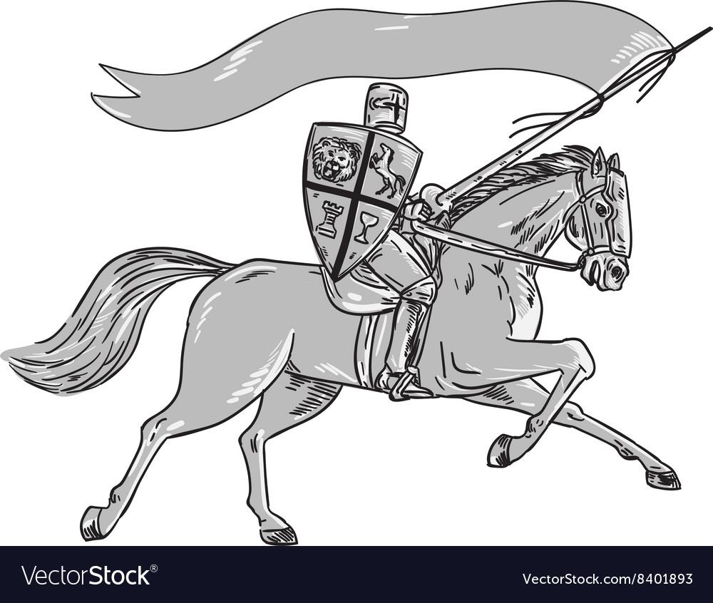 Knight Riding Horse Shield Lance Flag Retro vector image