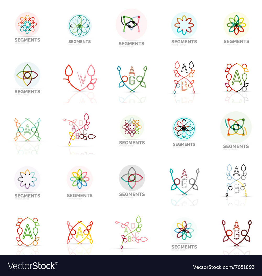 Linear abstract logos letters swirls