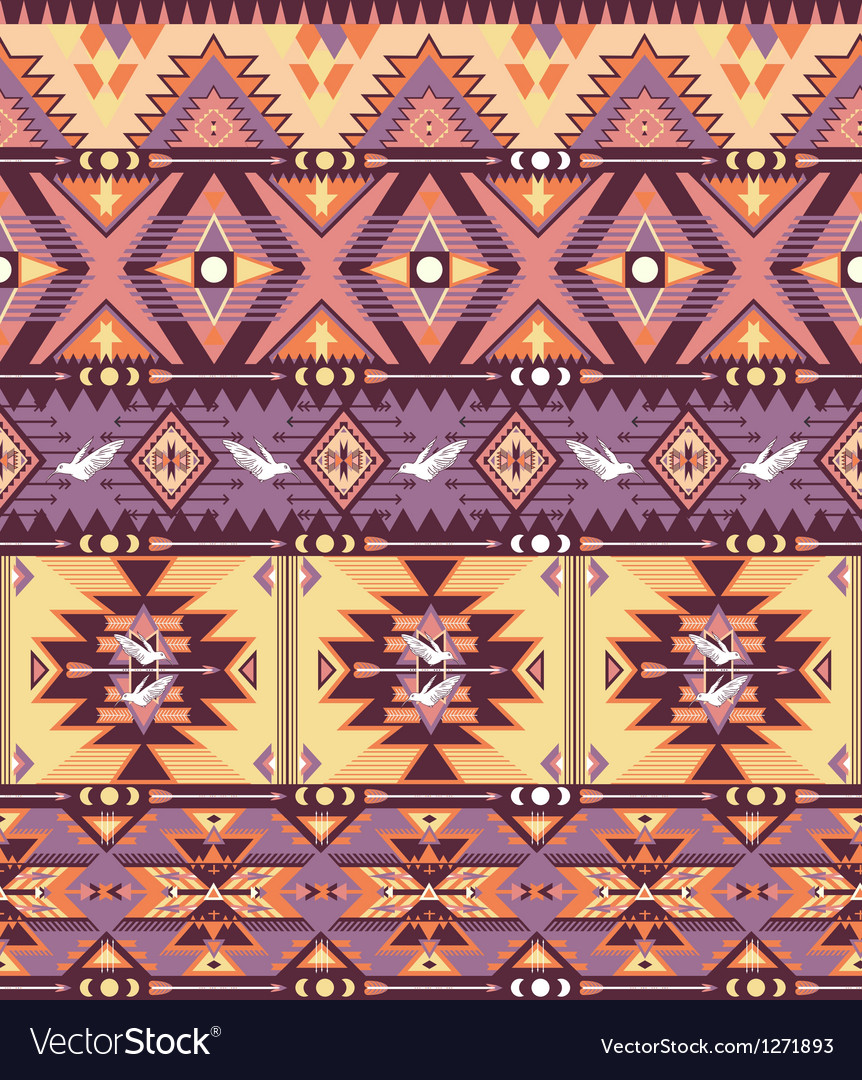 Seamless colorful aztec pattern with birds and arr