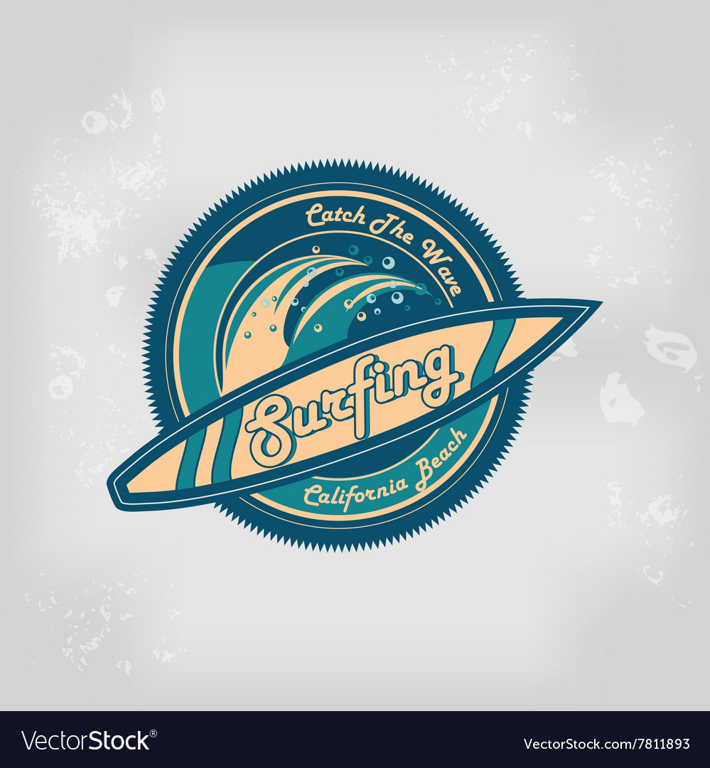 Summer surfing retro vintage logo emblem