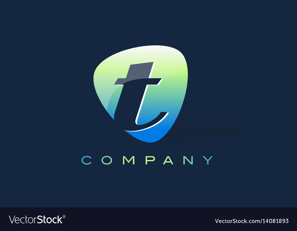 T letter logo oval shape modern design vector image
