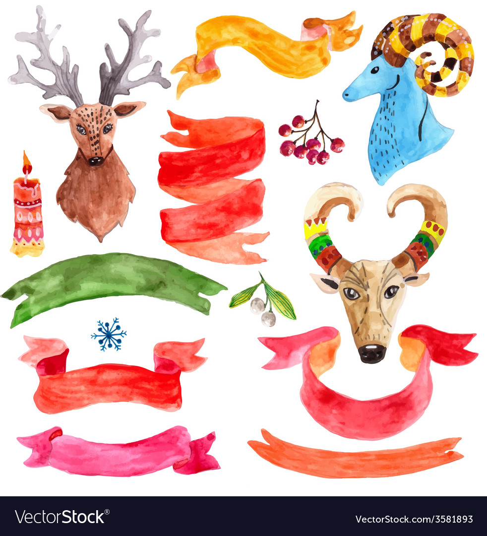 Watercolor beautiful Christmas collection