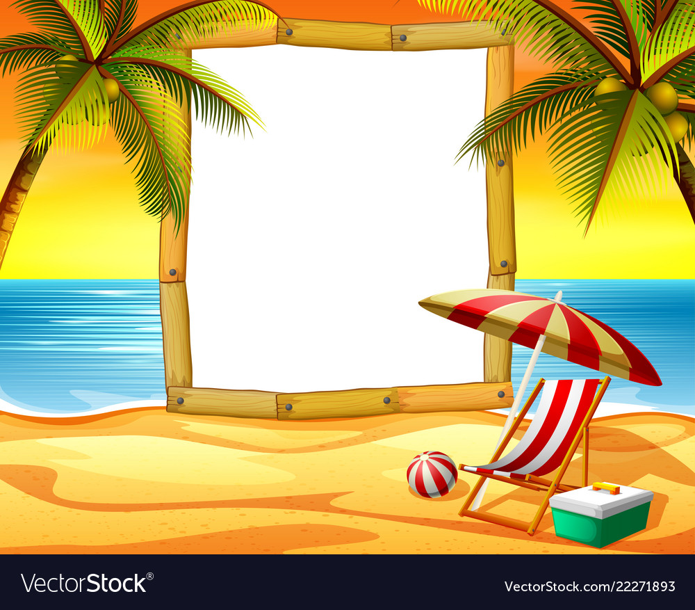 Wooden frame blank space with the sunset beach