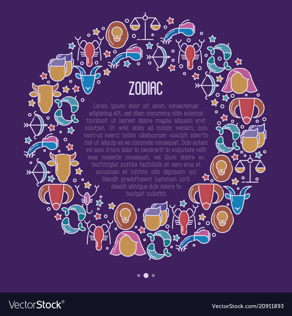 Zodiac signs concept in circle