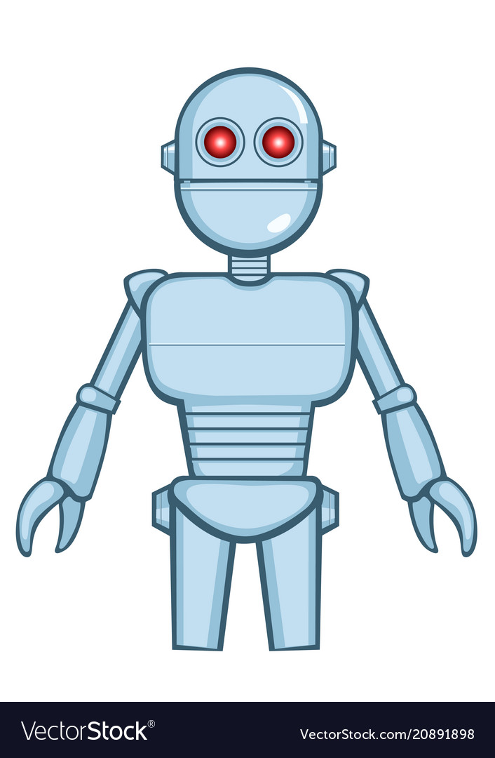 A isolated metallic vintage robot in idle position