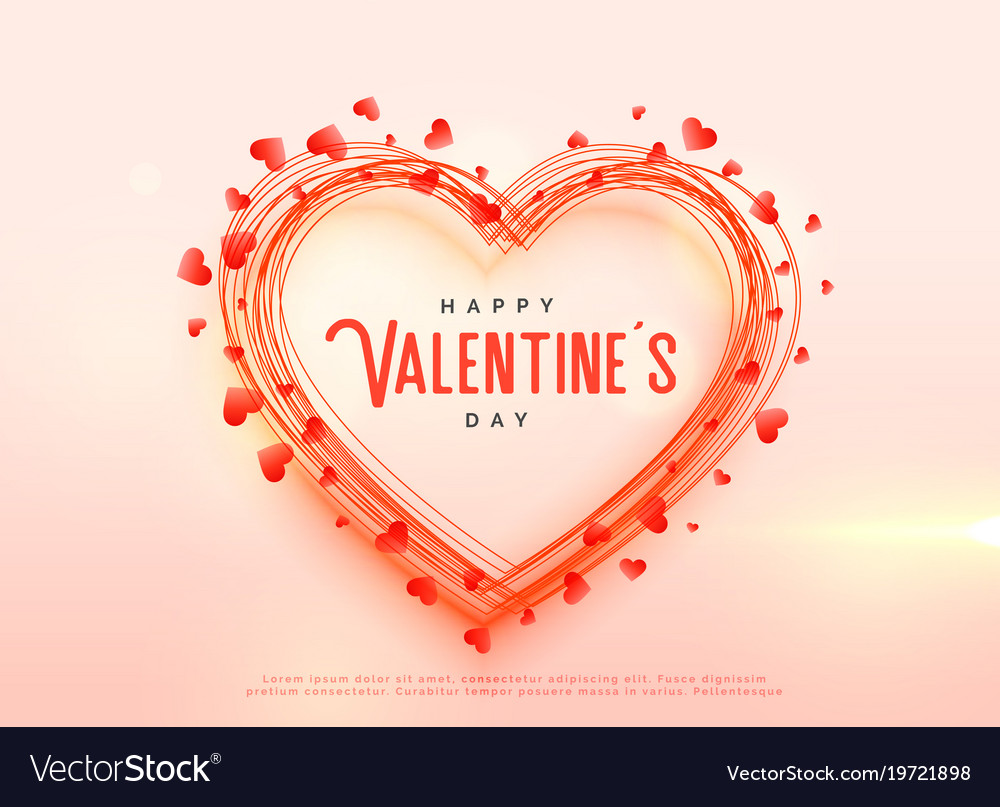 Creative Valentines Day Hearts Background Design Vector Image