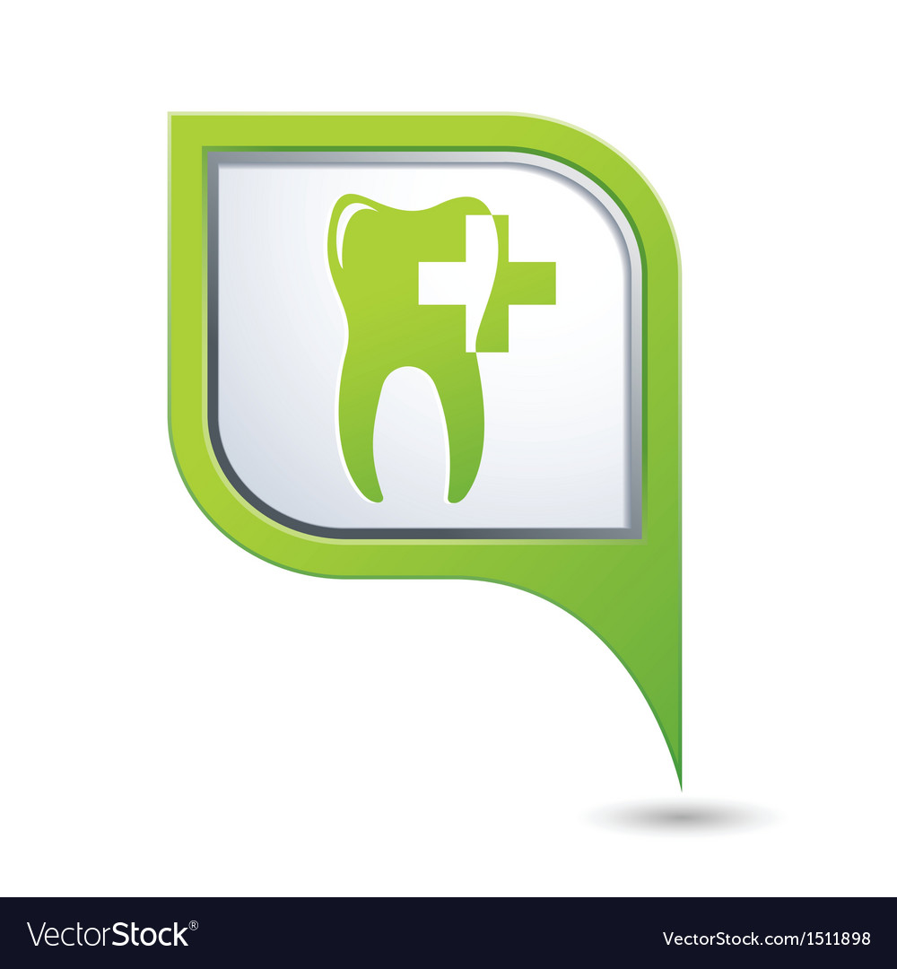 Dental clinic symbol on green map pointer vector image