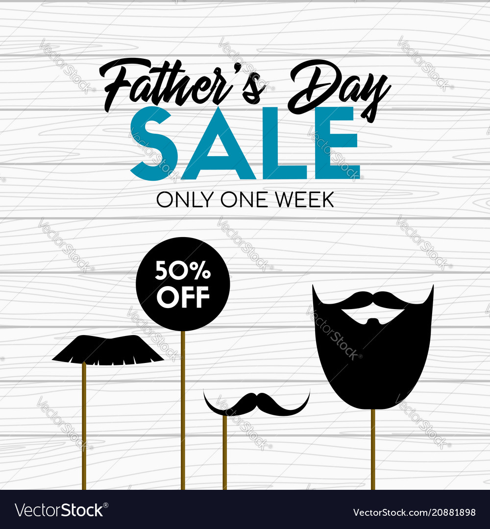 Fathers day sale card banner with photo props