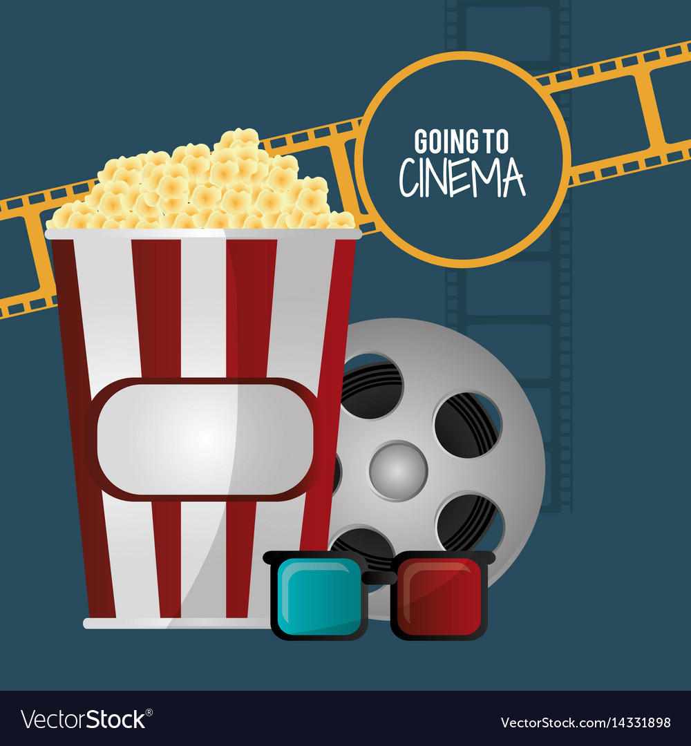 Going to cinema pop corn 3d glasses film strip