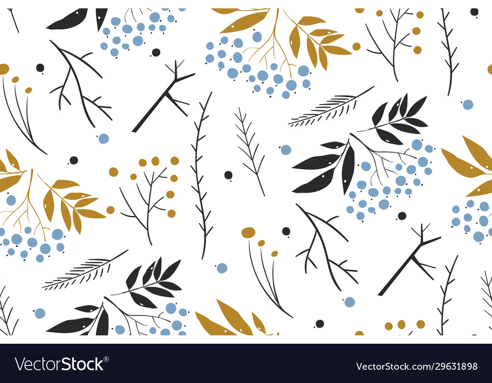 Hand drawn floral winter seamless pattern