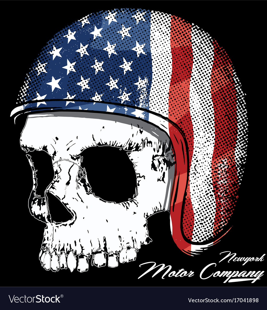 Motorcycle helmet with american flag with skull