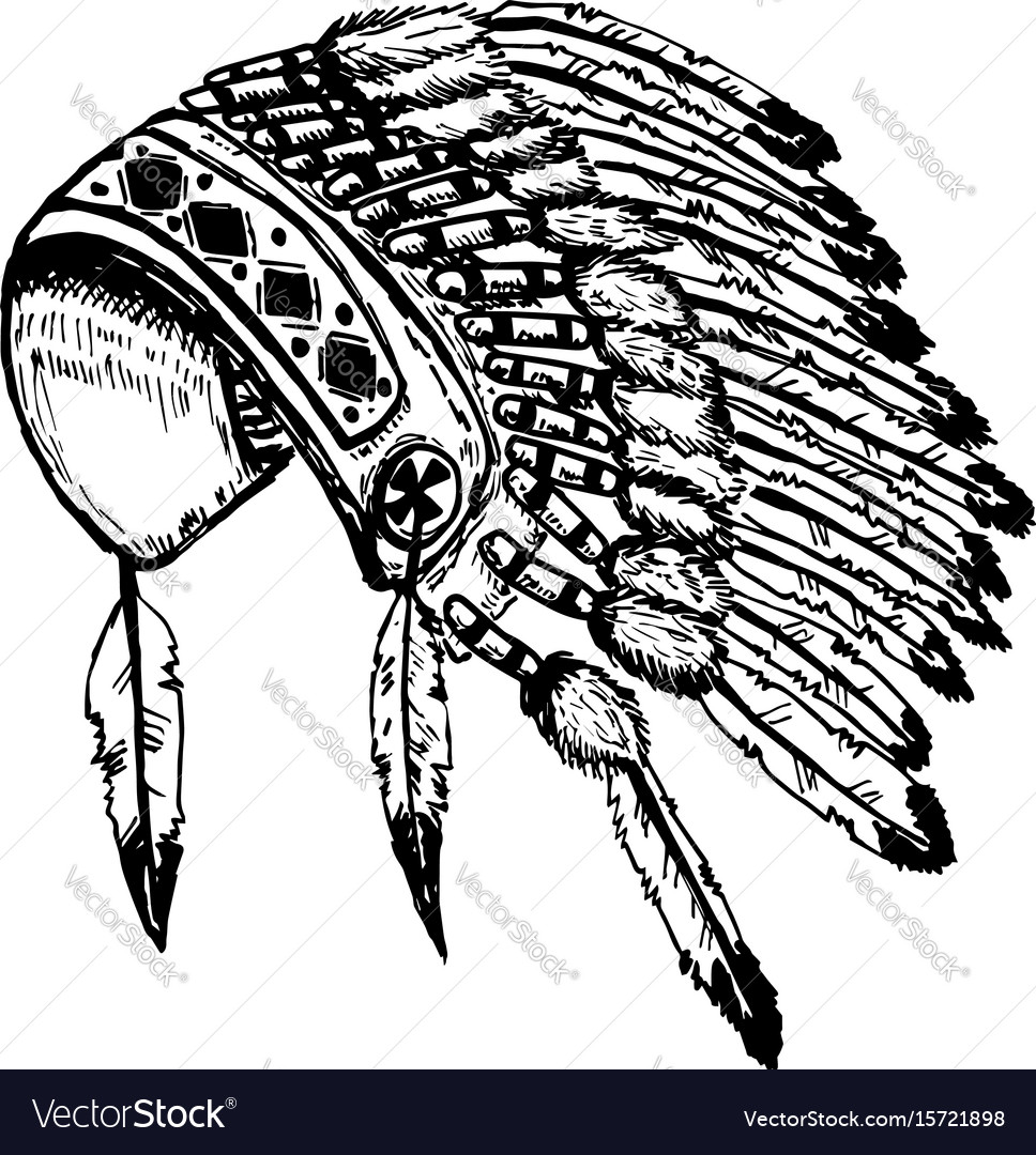 Native american indians chief headdress isolated
