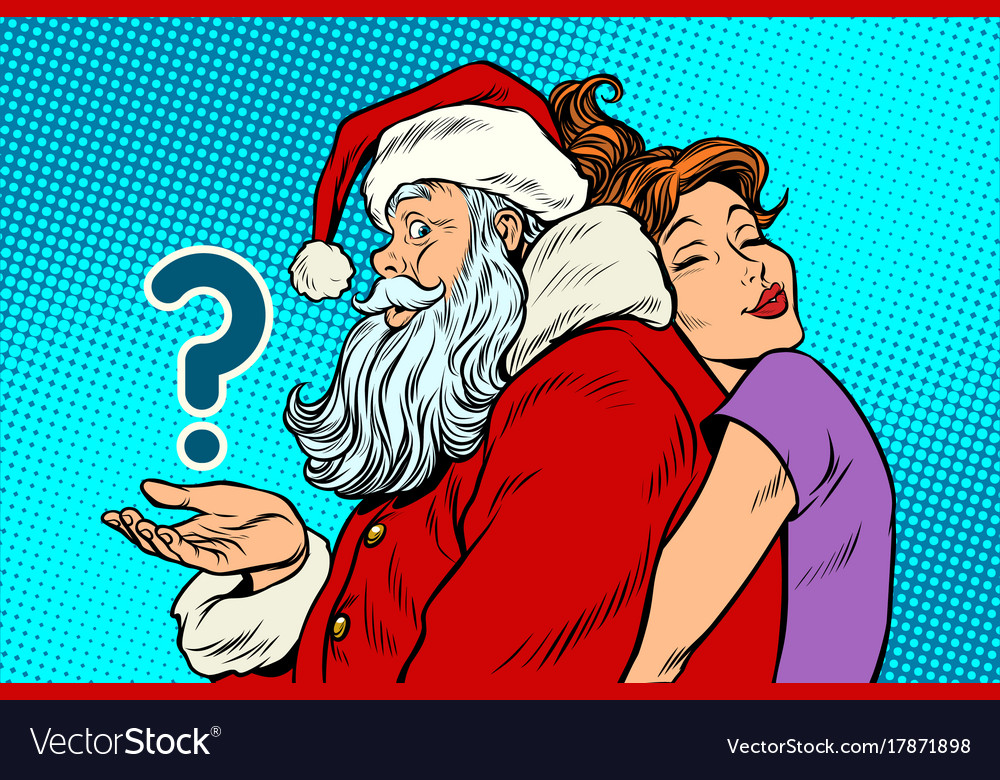 Santa claus and beautiful woman a surprise