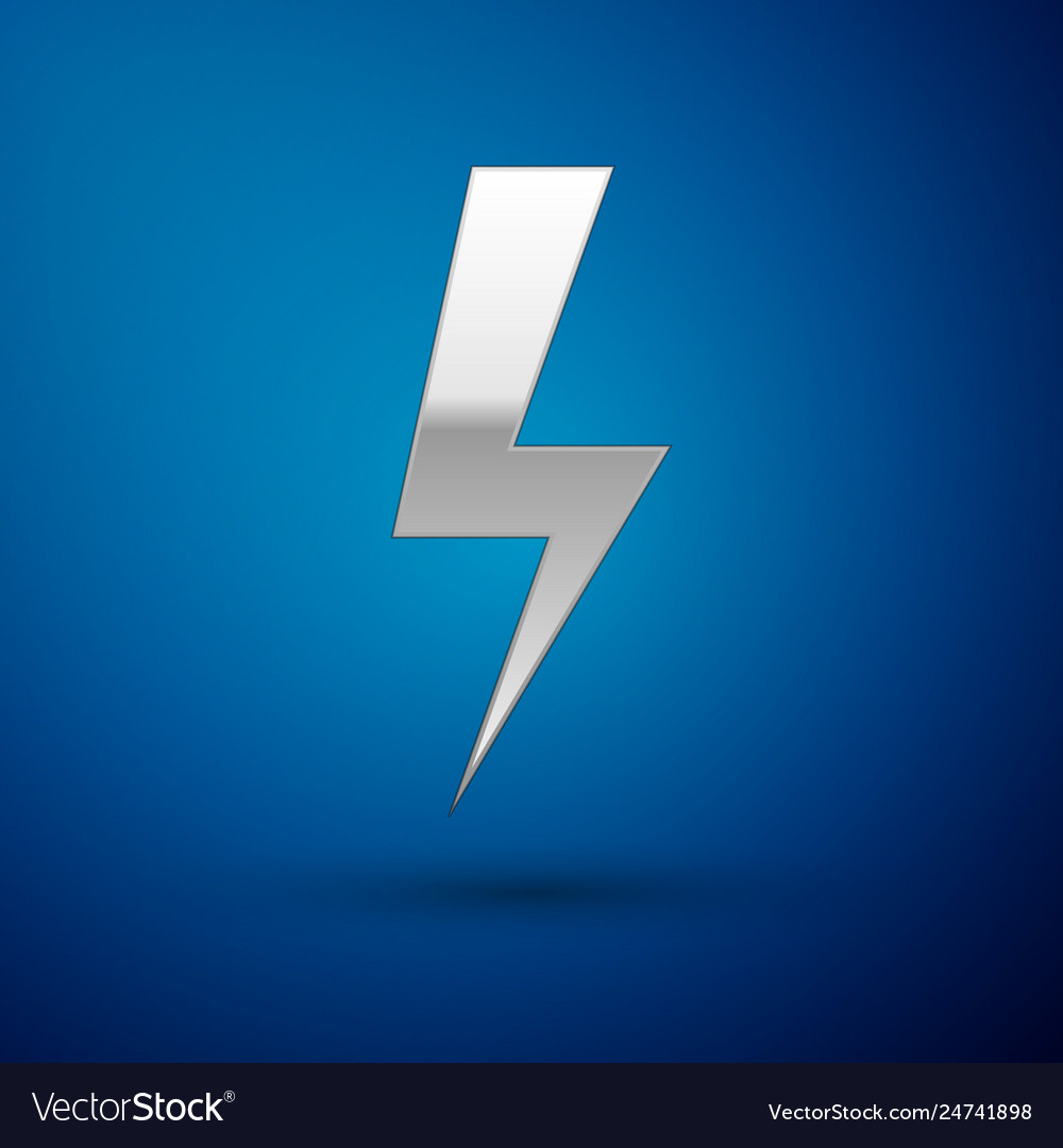 Silver lightning bolt icon isolated on blue
