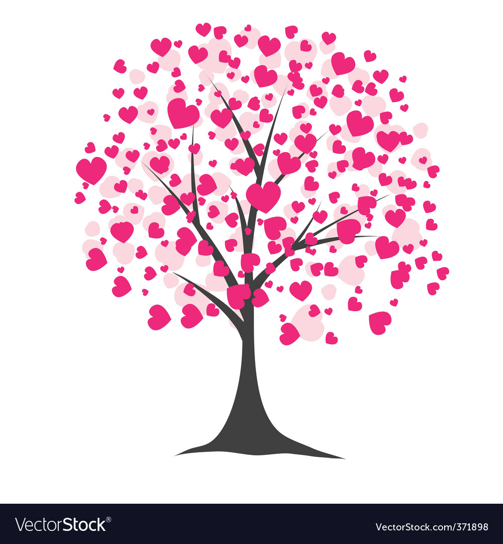 Tree with hearts vector illustration