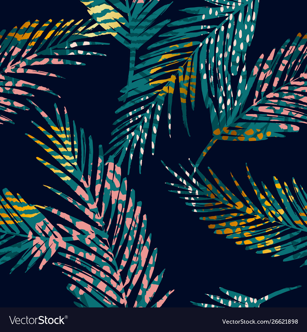 Trendy seamless exotic pattern with palm animal