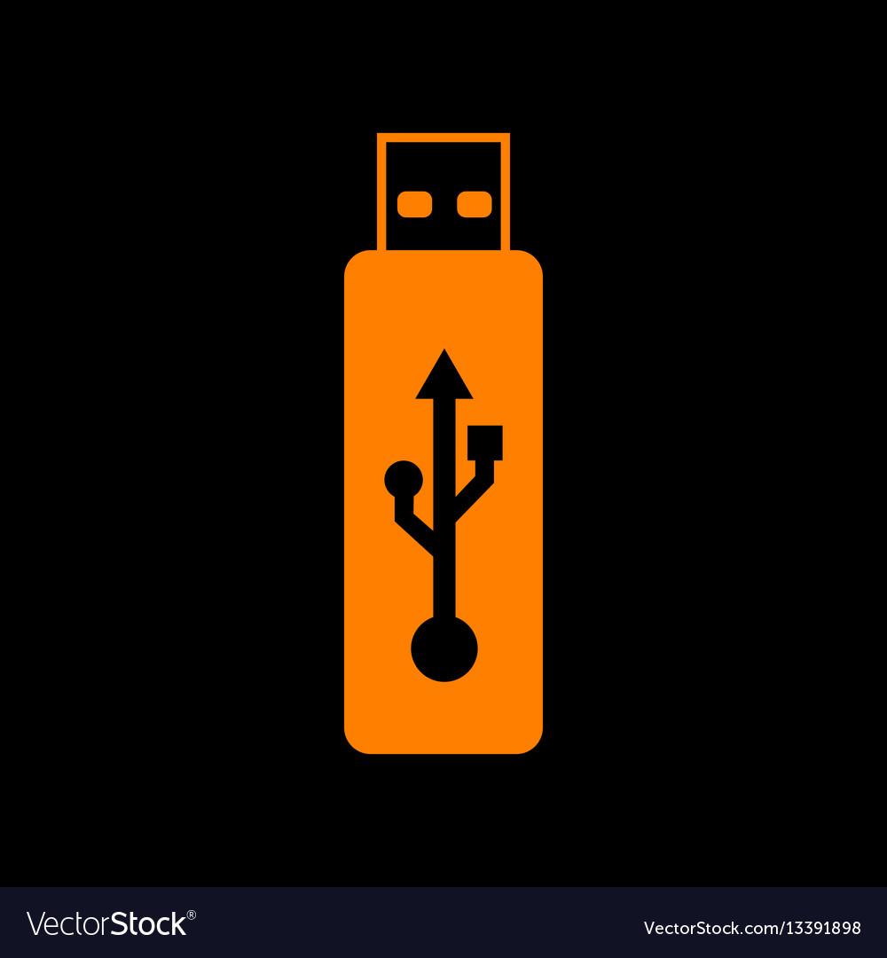 Usb flash drive sign orange icon on black