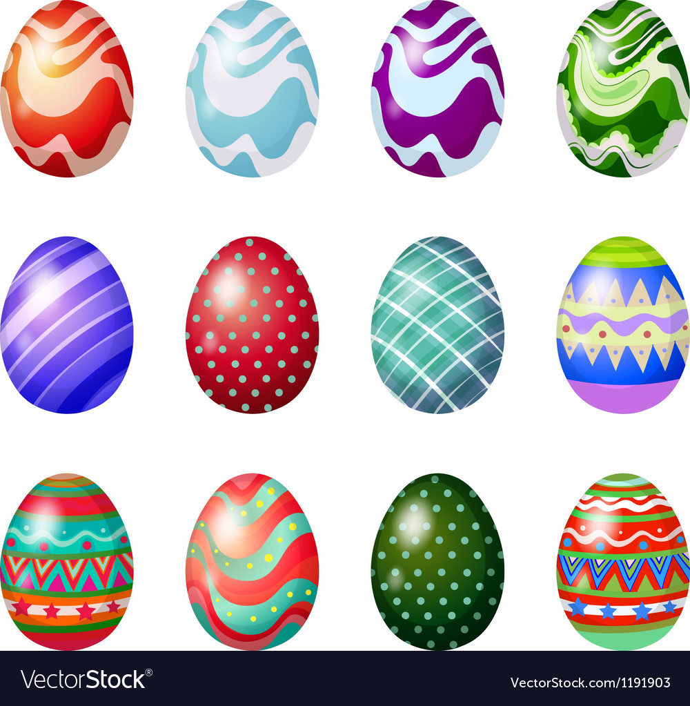 A dozen of painted easter eggs vector image