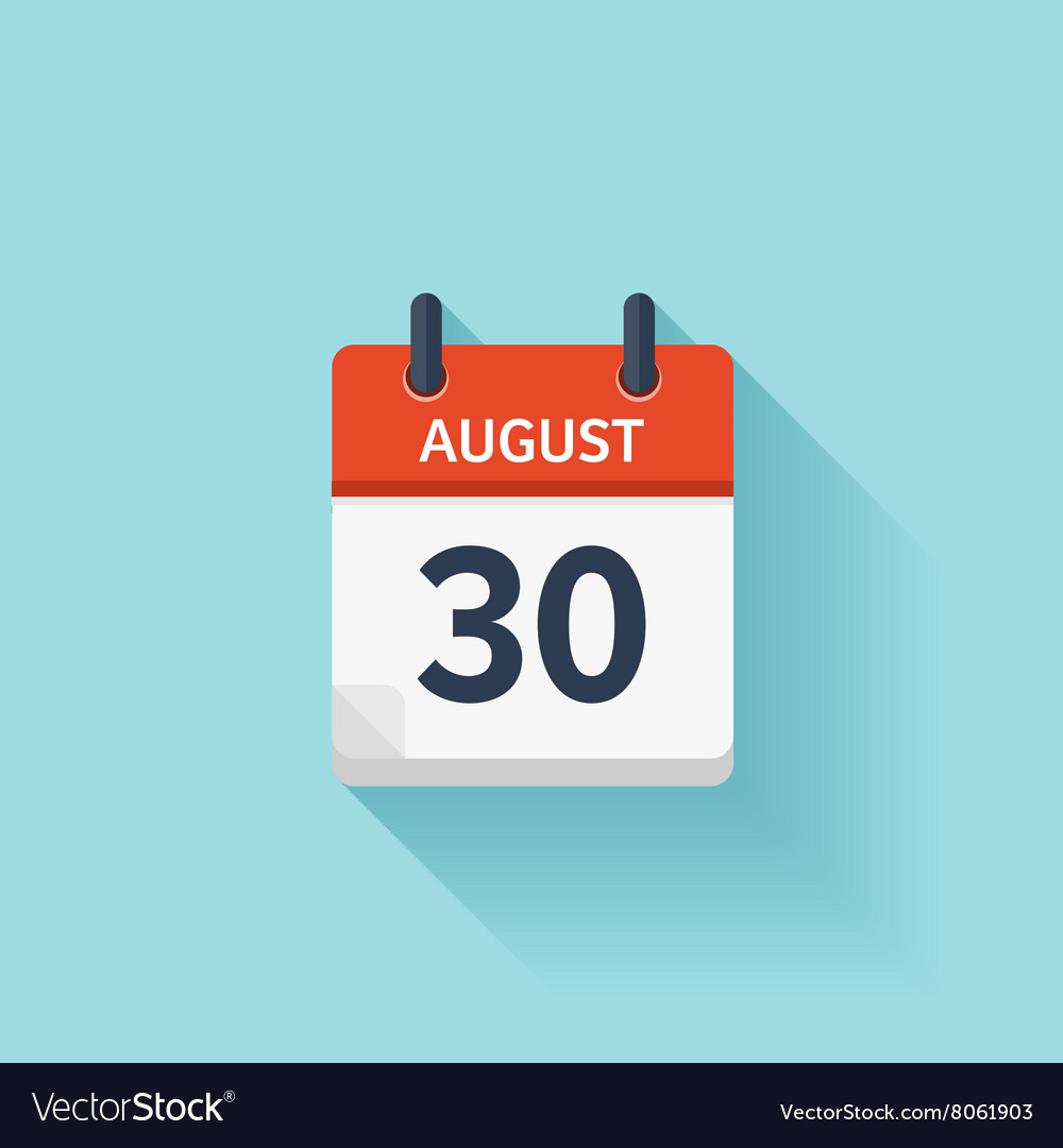 August 30 flat daily calendar icon Date