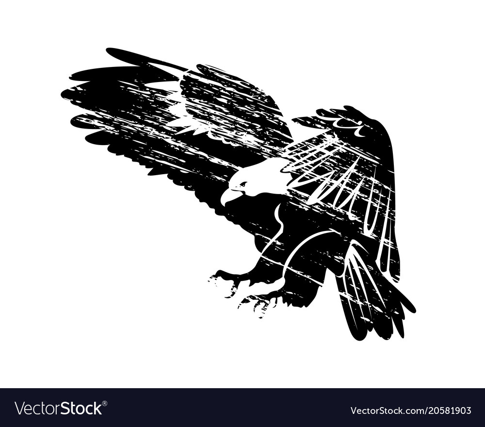 Grunge silhouette of flying eagle