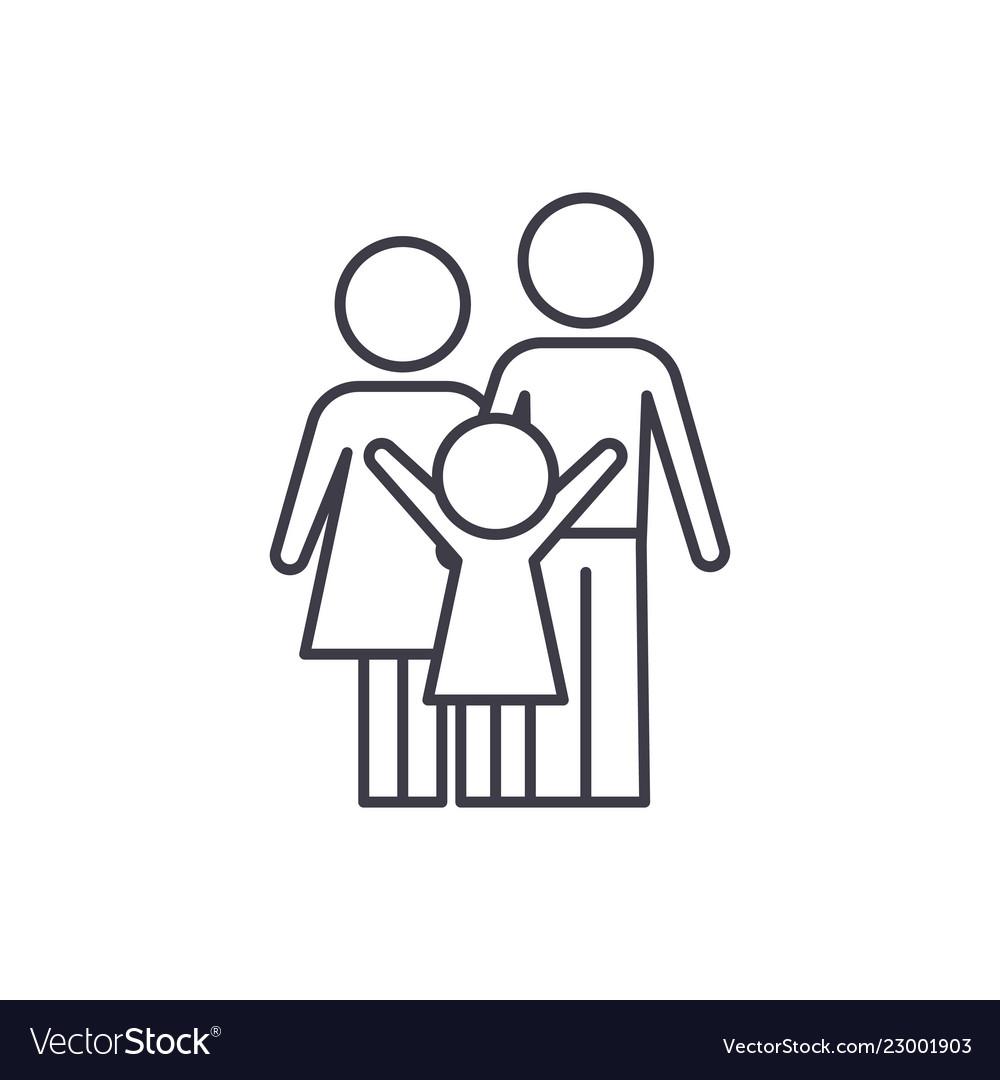 Happy family line icon concept happy family