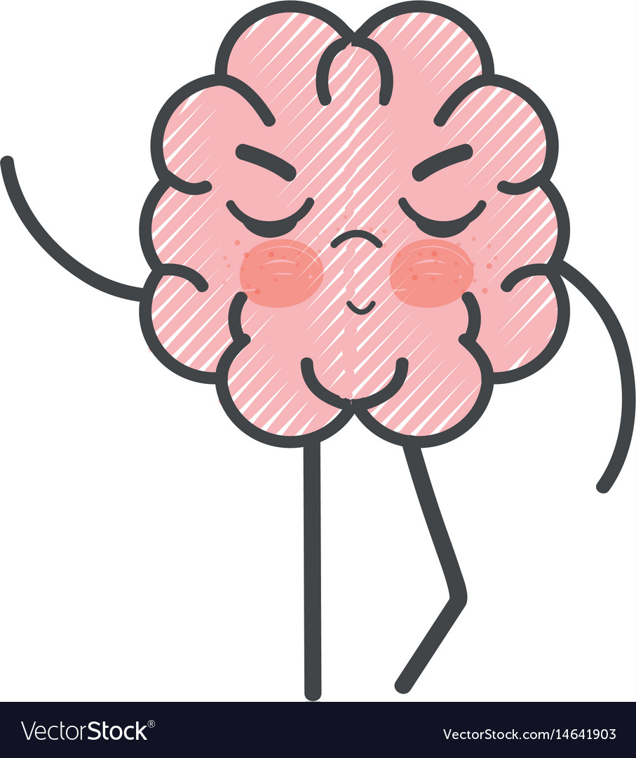 Icon adorable kawaii brain expression