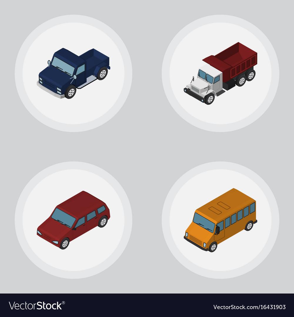 Isometric transport set of car autobus suv and