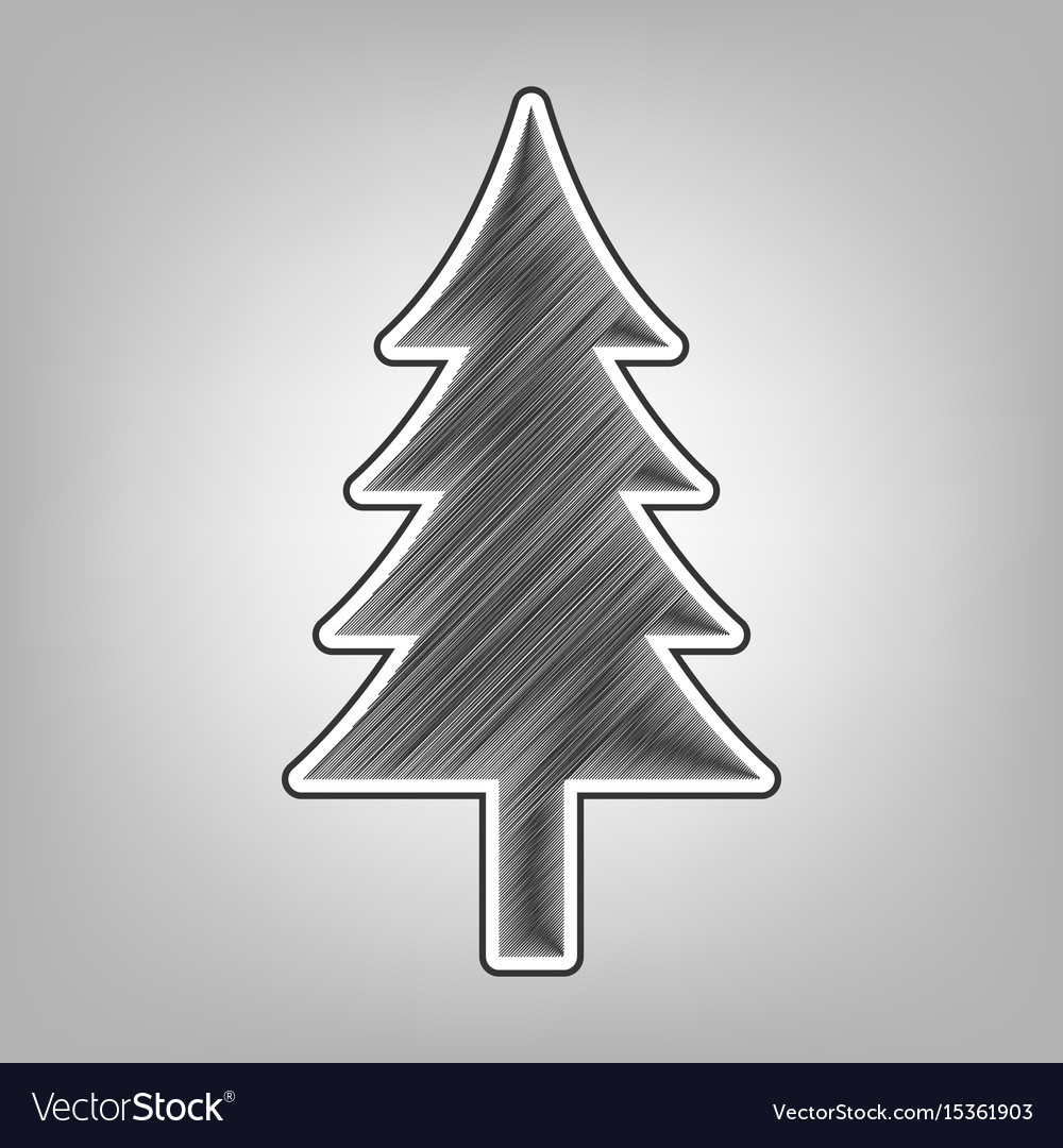 New year tree sign pencil sketch vector image