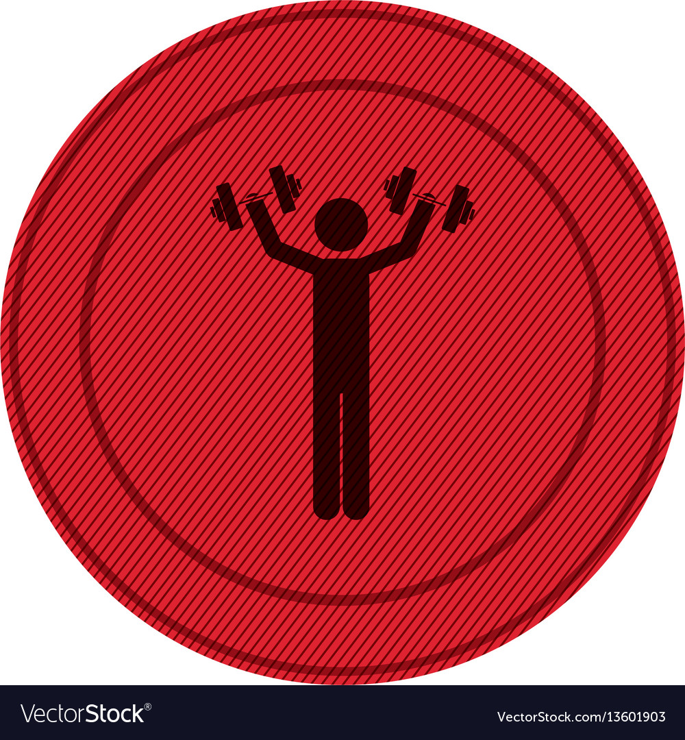 Red circular frame of man with dumbbell