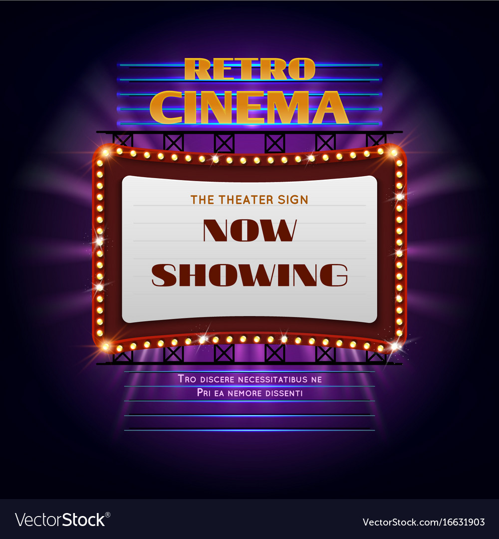 Retro hollywood cinema 3d glowing light sign vector image