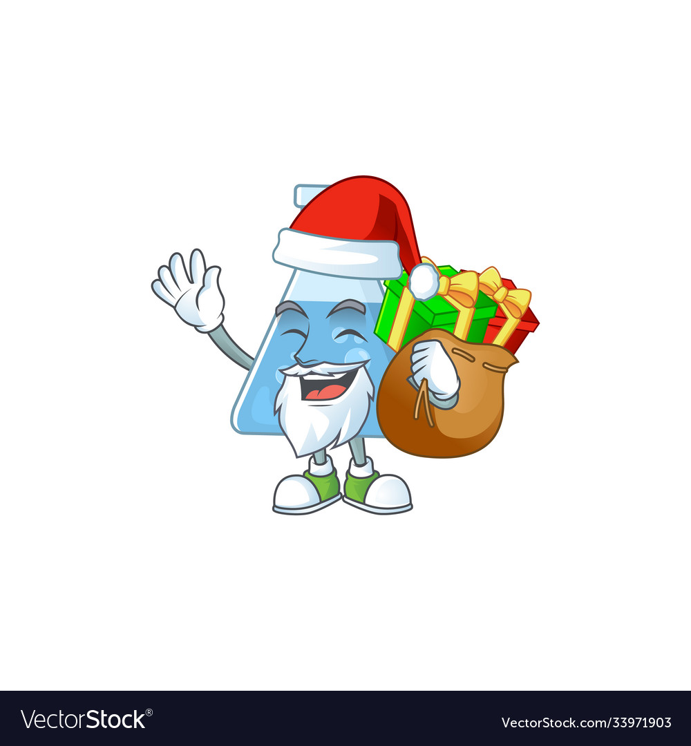 Santa blue chemical bottle with sacks gifts