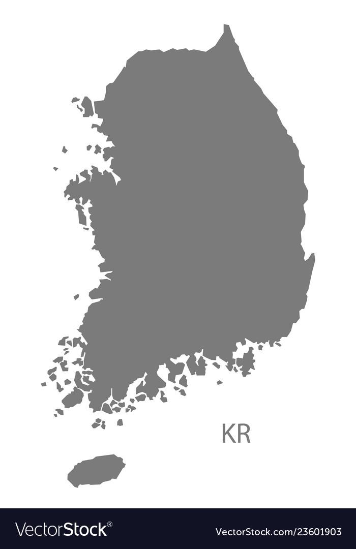south korea map vector South Korea Map Grey Royalty Free Vector Image