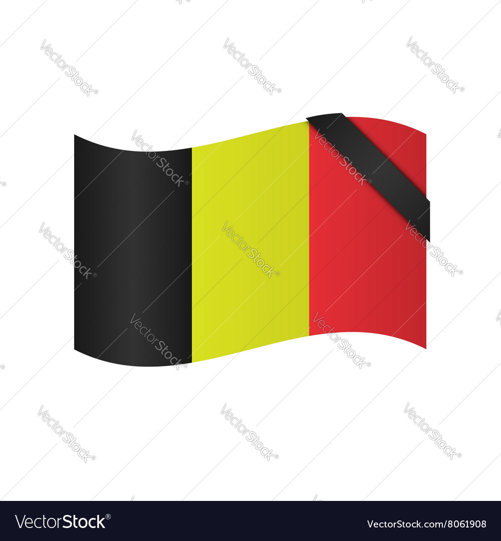 Belgian flag with blac ribbon