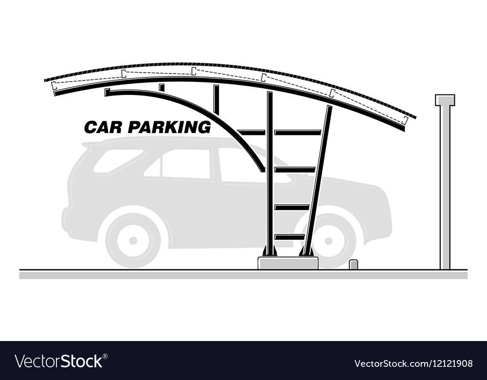 Car Parking Roofing Section Royalty Free Vector Image