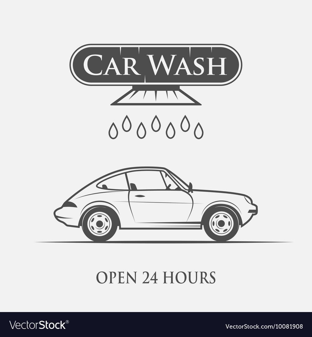 Car wash vintage style Royalty Free Vector Image
