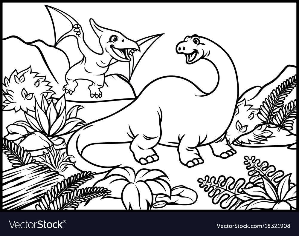 Coloring page of brontosaurus and pterodactyl