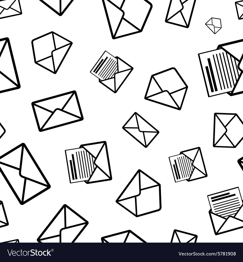 Different envelope black icons on white background