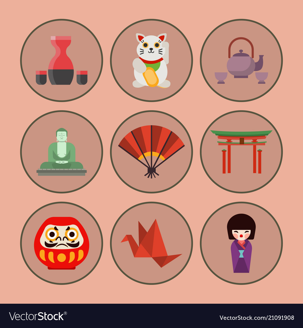 Flat colored symbols of japan travel and