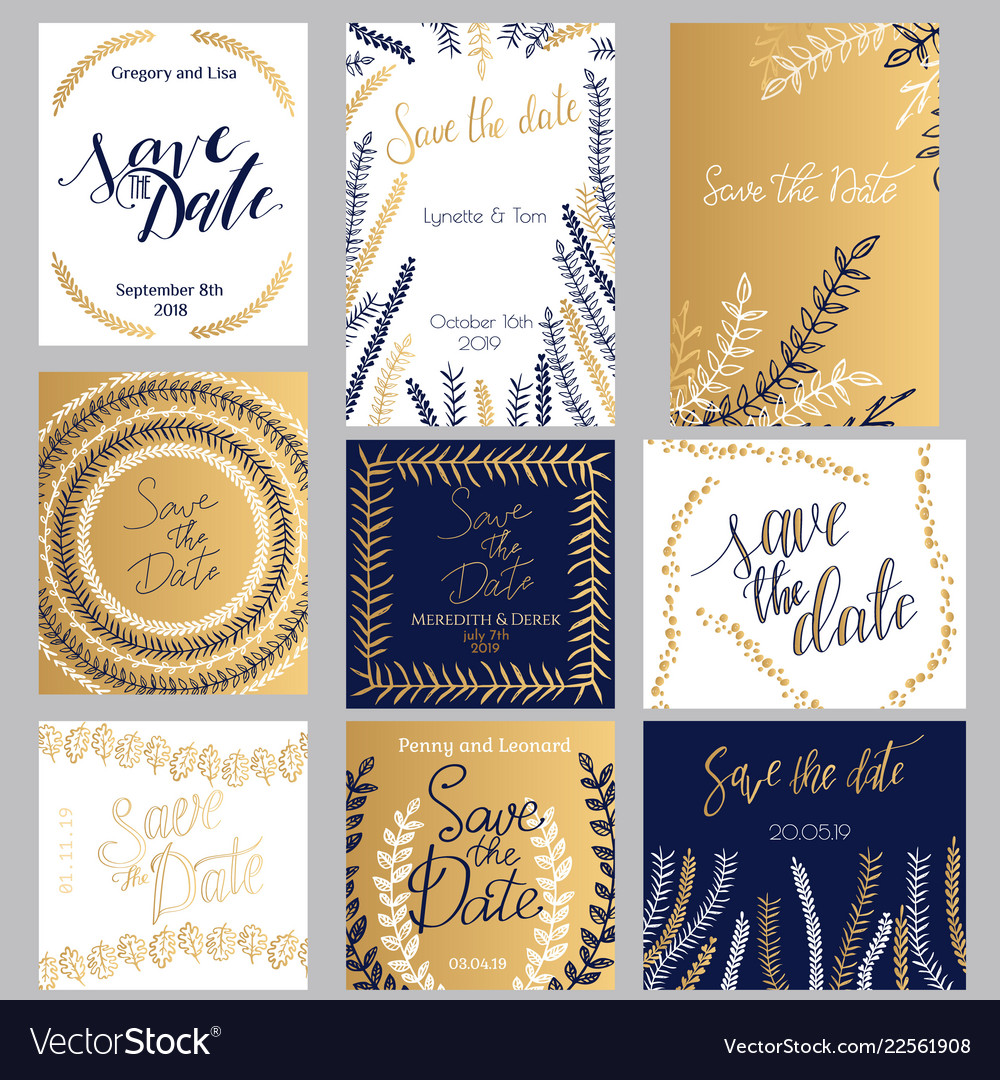 Golden Dark Blue And White Invitation Templates
